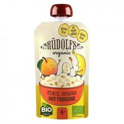 Παιδικός Πουρές Φρούτων Ροδάκινο, Μπανάνα & Νιφάδες Βρώμης 110g - Βιολογικός