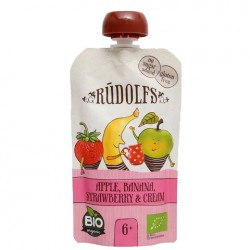 Παιδικός Πουρές Φρούτων Μήλο,  Μπανάνα, φράουλα & Κρέμα 110g - Βιολογικός