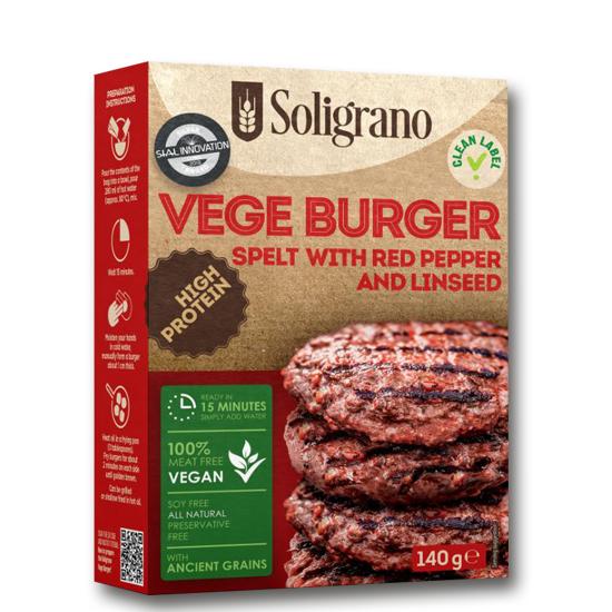 Burger vegan Πάπρικα και λιναρόσπορο  VEGAN BURGERS SOLIGRANO