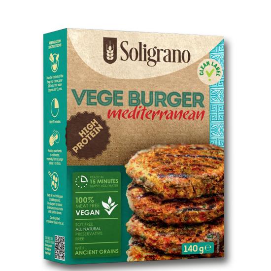 Burger vegan Μεσογειακό VEGAN BURGERS SOLIGRANO